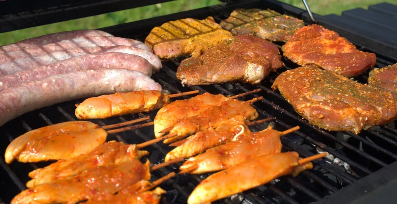 grill full of meat